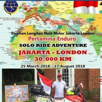 Stephe Langitan Naik Motor Jakarta London